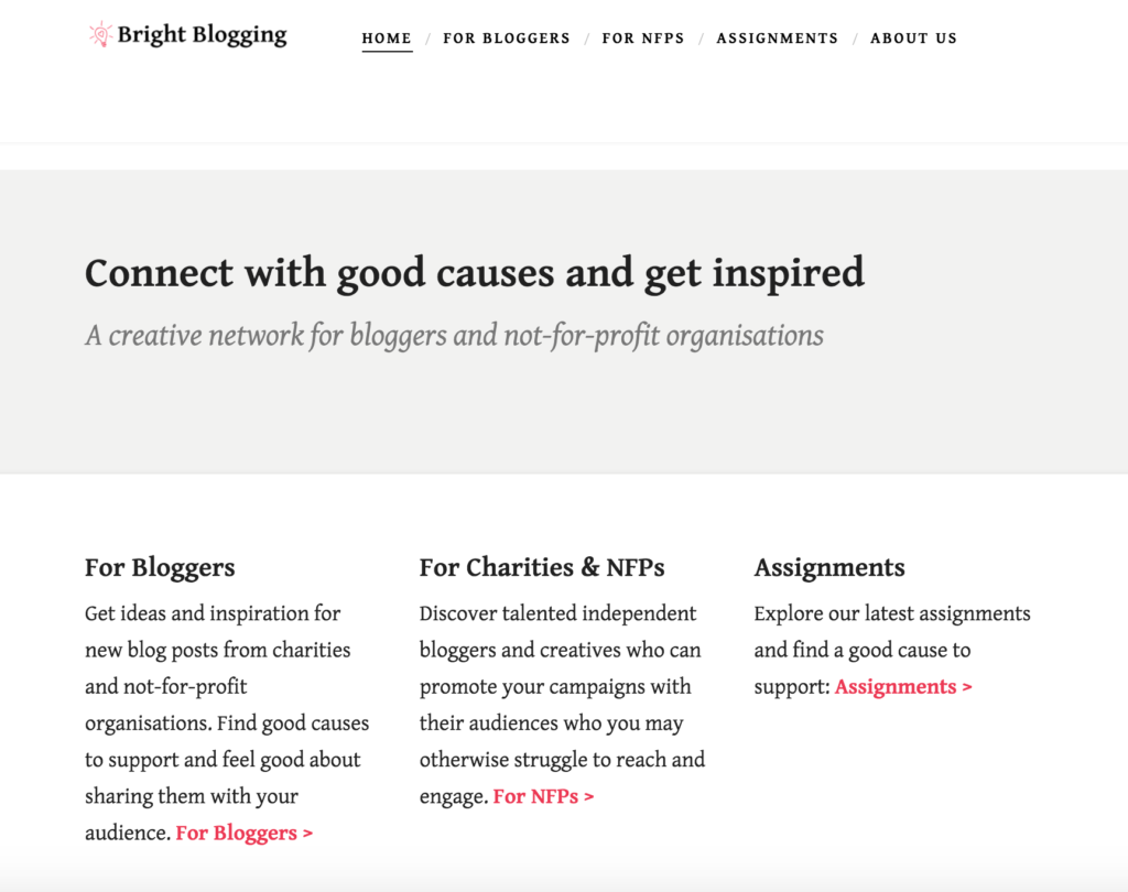 Screen shot of Bright Blogging homepage