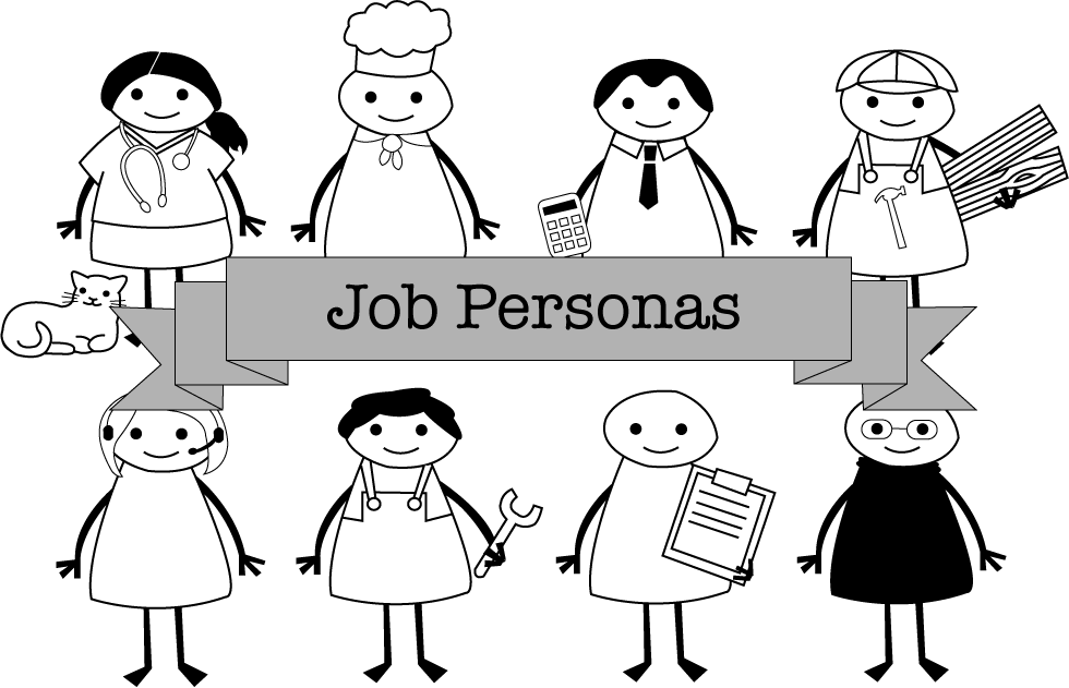 Illustration of different job-based persona characters