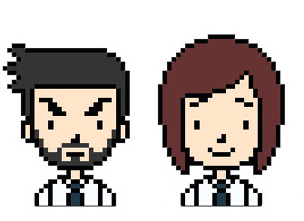 Two simple pixel art avatars