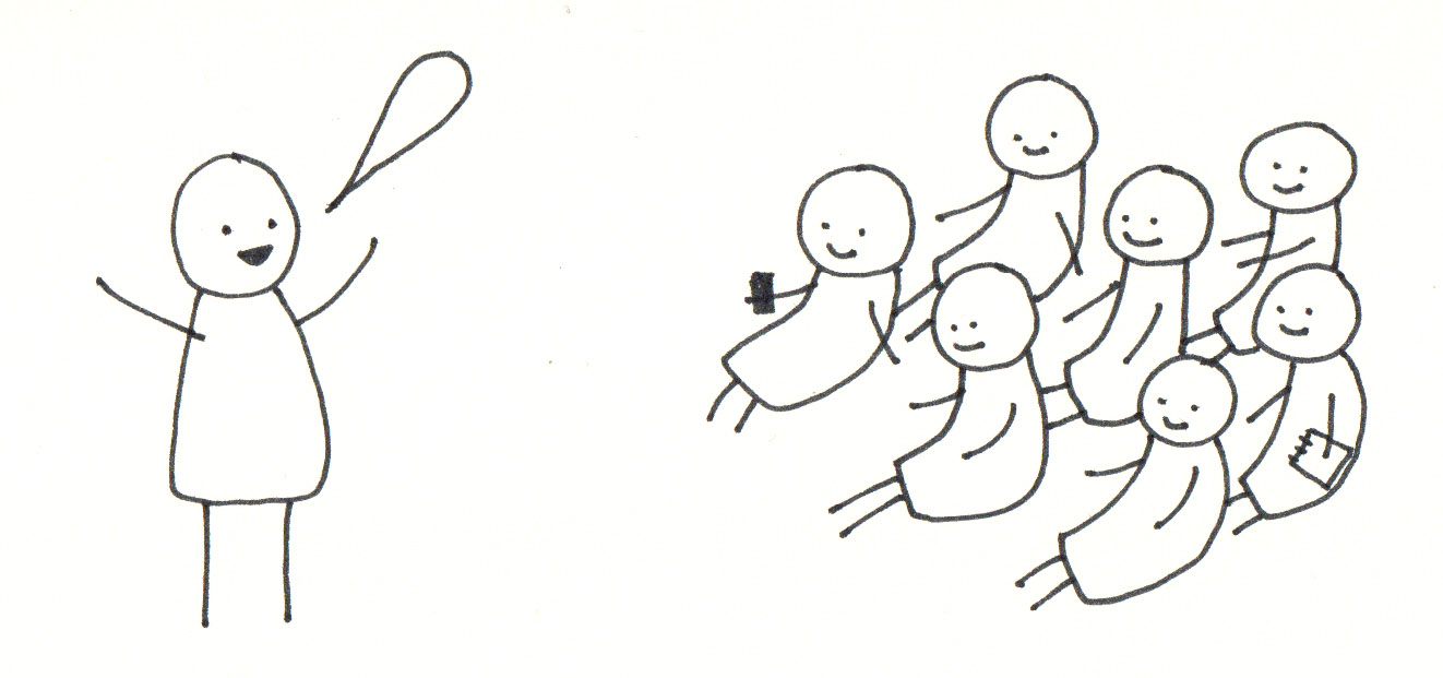 Sketch of people at a conference